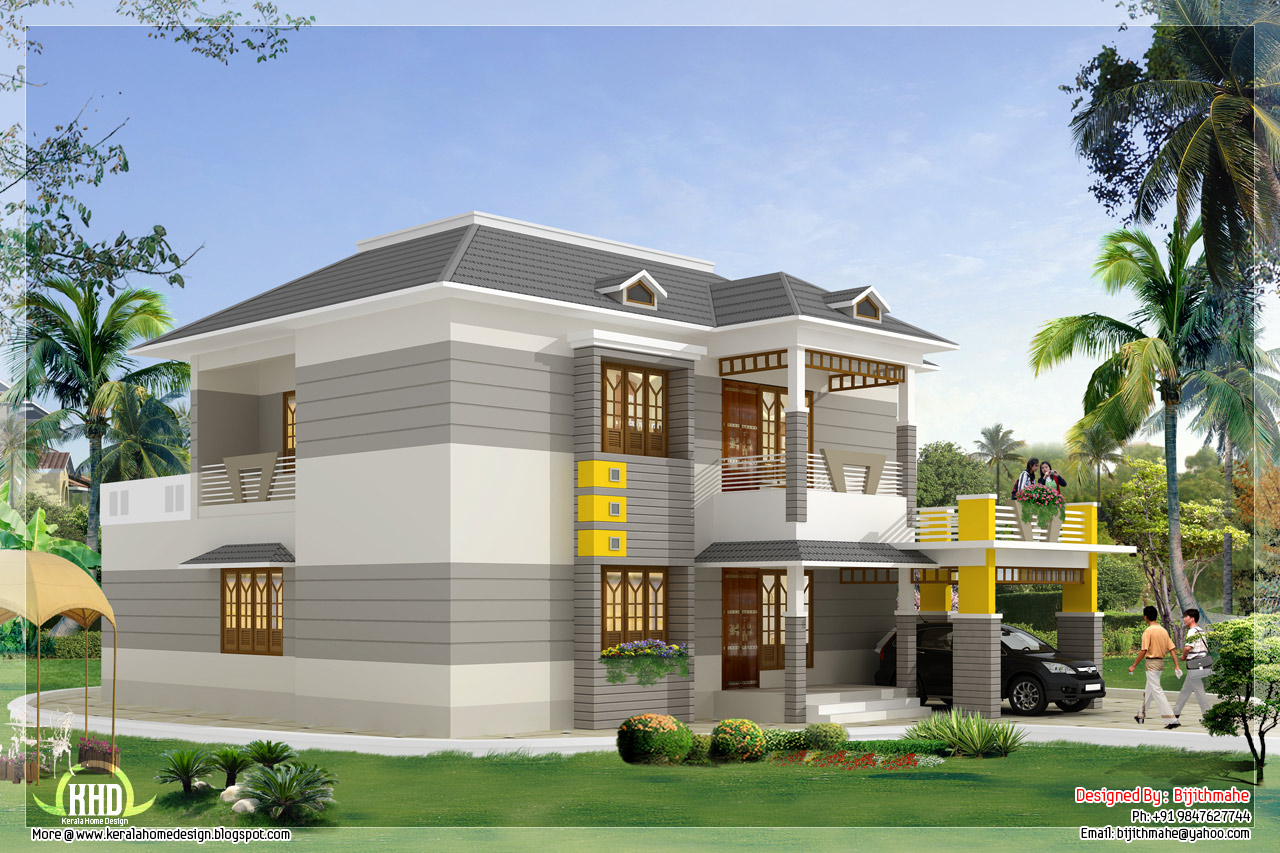 Front Elevation In Kerala : Front visw elevation of sqft kerala style house