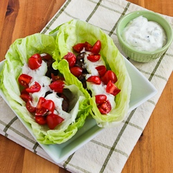 for Ground Beef Gyro Meatball Lettuce Wraps with Tzatziki and Tomatoes ...