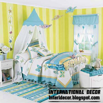 modern girls bedroom ideas, modern girls bedding turquoise butterfly model