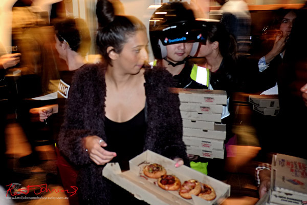 Dominos Mini Pizzas arriving - Art Opening - Street Fashion Sydney