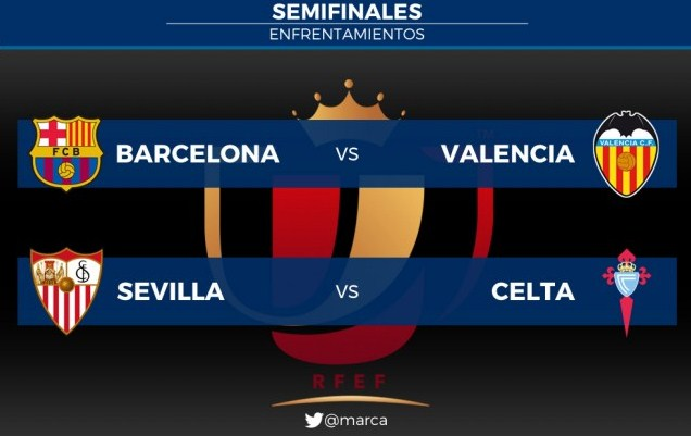 The draw for the Copa del Rey 2016 Barcelona vs Valencia