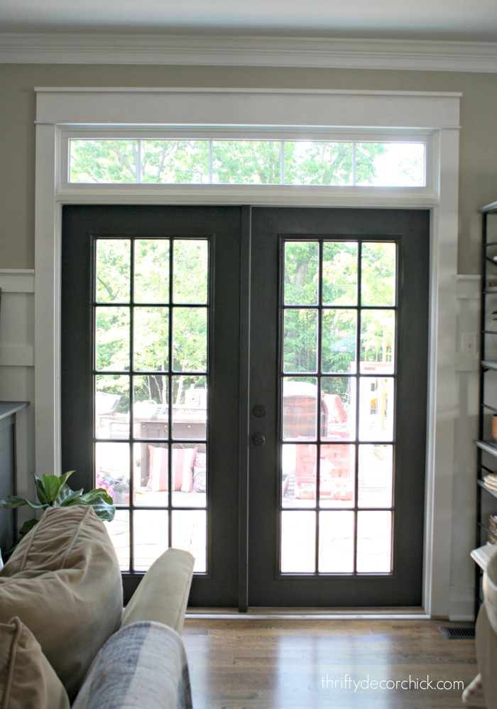 The curse of the back door from thrifty decor chick for Black french doors exterior