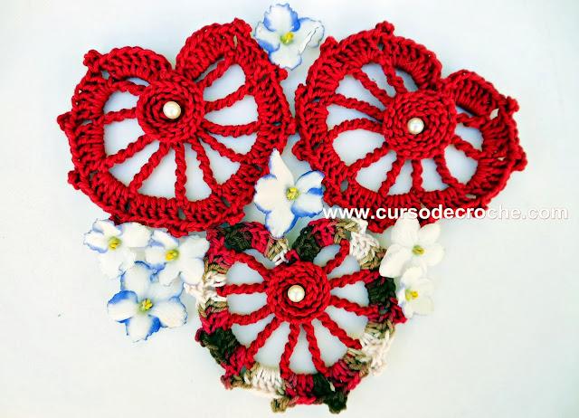 corações em croche video-aulas gratis no blog youtube com edinir-croche