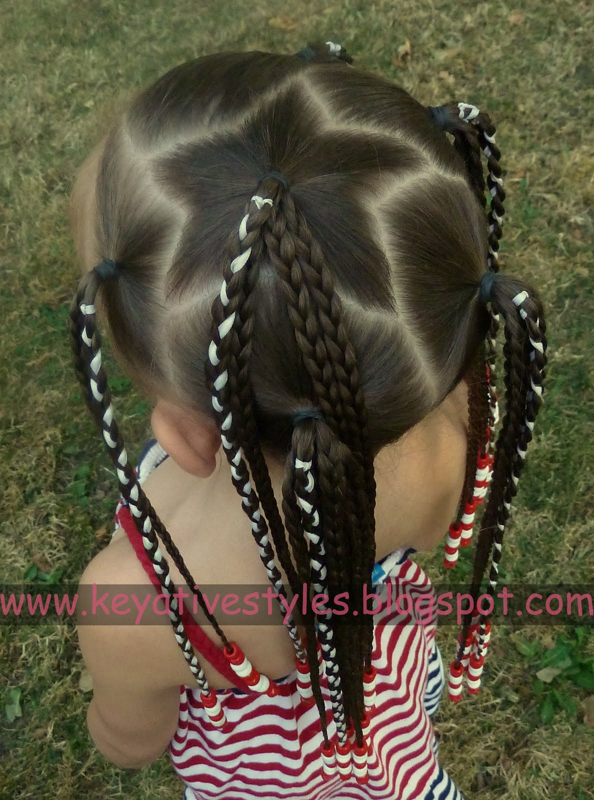Hair today: 9/11 REMEMBRANCE: STAR PART + RIBBON BRAIDS WITH BEADS