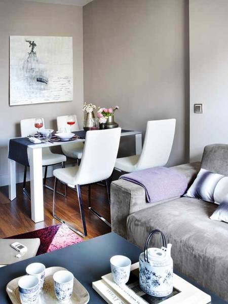 Decoração de sala pequena integrada a sala de estar.