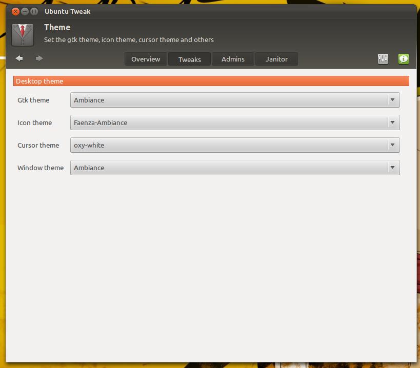Mengubah tema kursor dengan Ubuntu Tweak