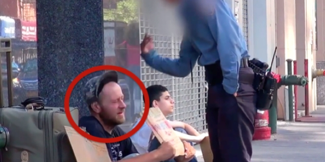 When The Policewoman Beats Him, The Beggar Stays Calm