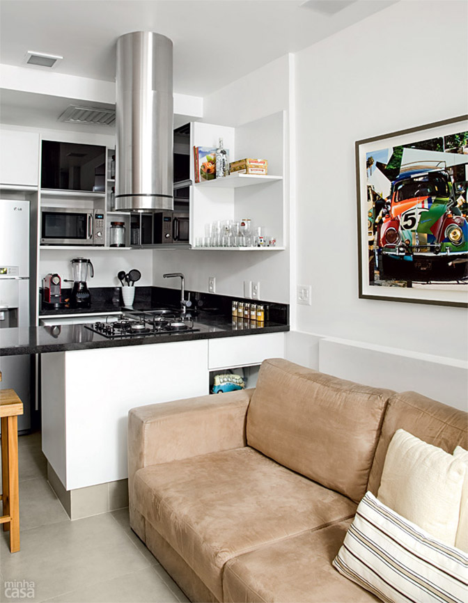decorar uma kitnet:04 quitinete de 26 m2 aposta em moveis planejados e integracao de