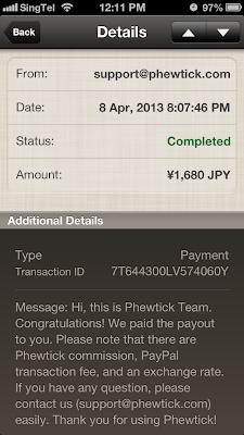 Phewtick PayPal receipt