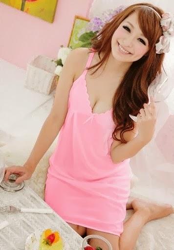 baju tidur kimono pink