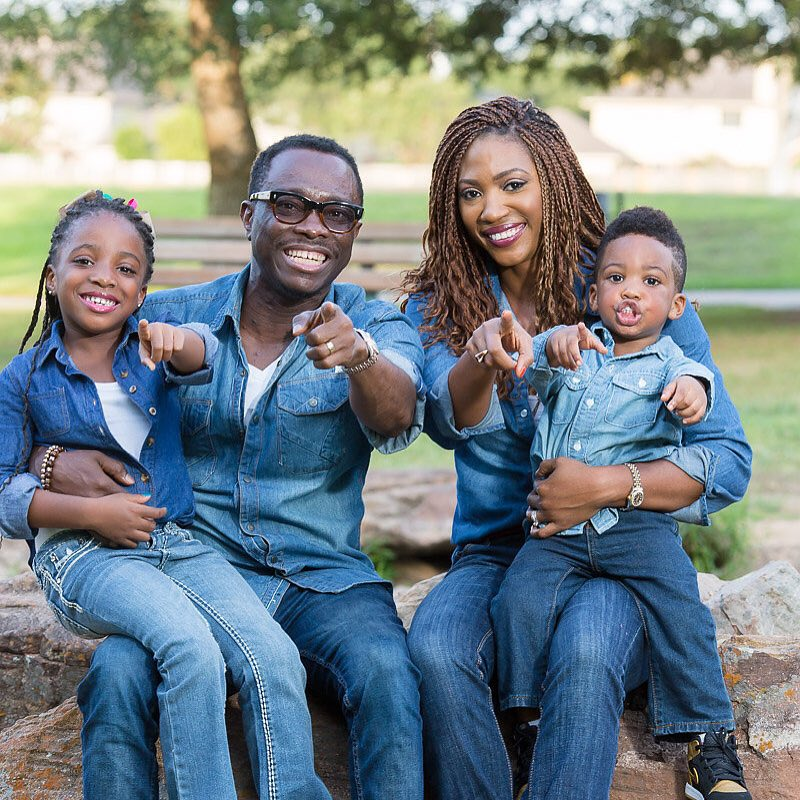 Comedian julius agwu and family rocks a bold denim on denim look in a new family portrait and they look good julius who recently had a surgery was