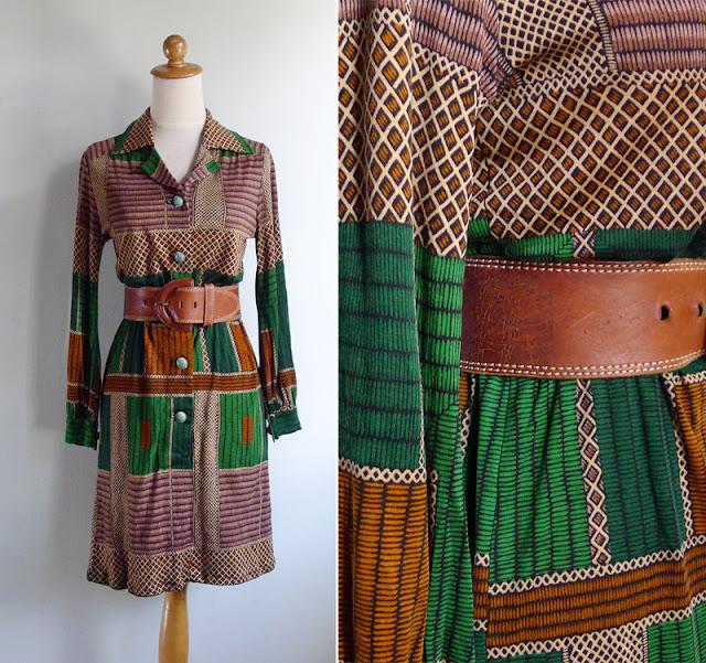 vintage 1970's jersey shirt dress