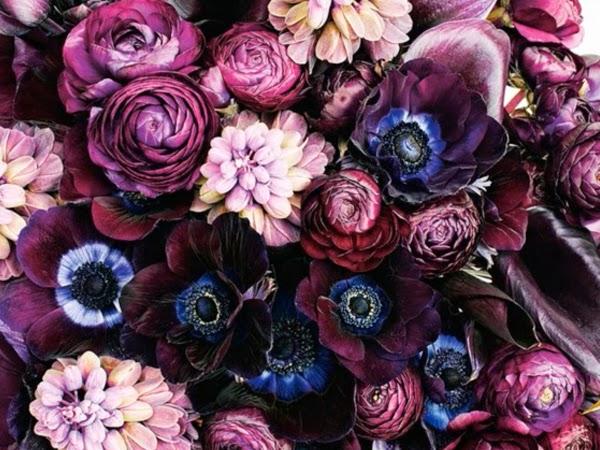Bukiet z purpurowych i różowych kwiatów