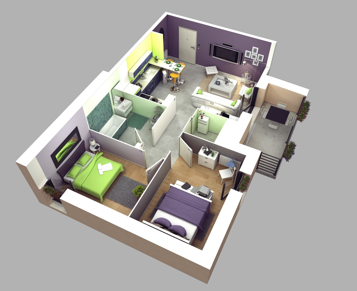 50 3d floor plans lay out designs for 2 bedroom house or House plan 3d view