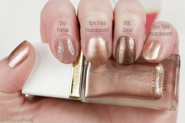 Tom Ford 02 2 Incandescent Nail Polish Lacquer swatch comparison, Spring 2014 Collection in studio lighting