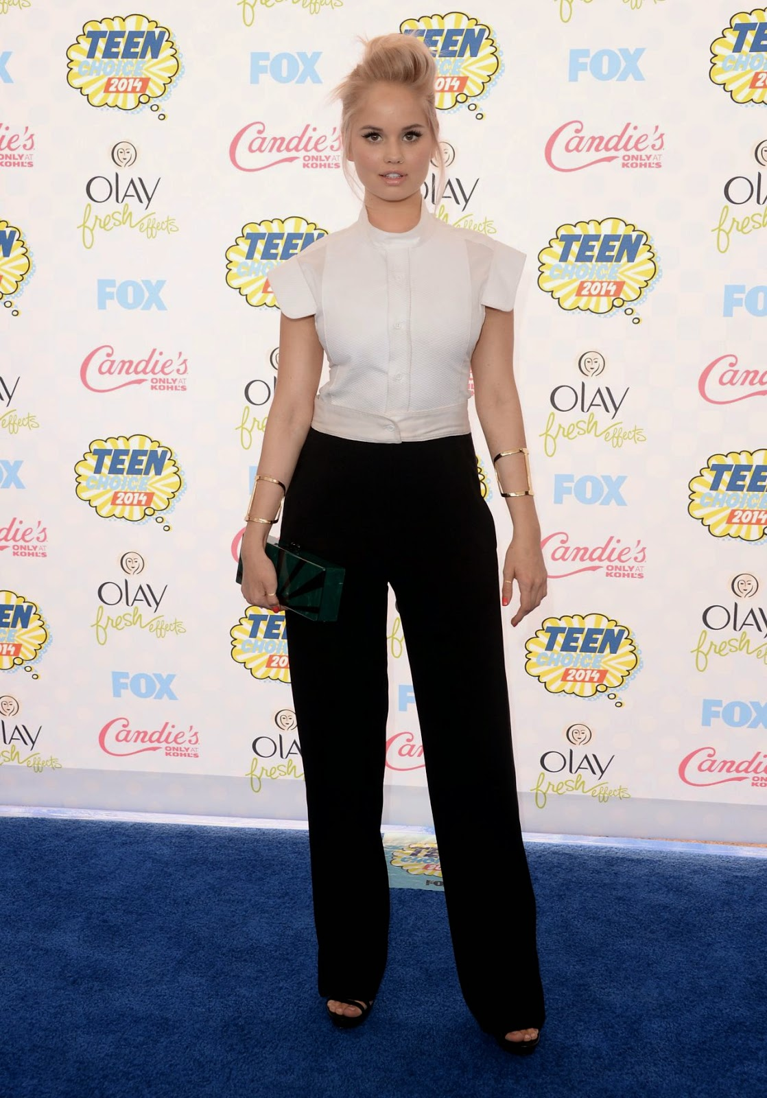 Debby Ryan arrives in a masculine inspired BCBG Max Azria outfit at the 2014 Teen Choice Awards