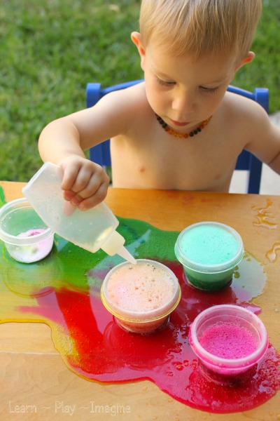 Simple invitation to create color surprise eruptions with kids.