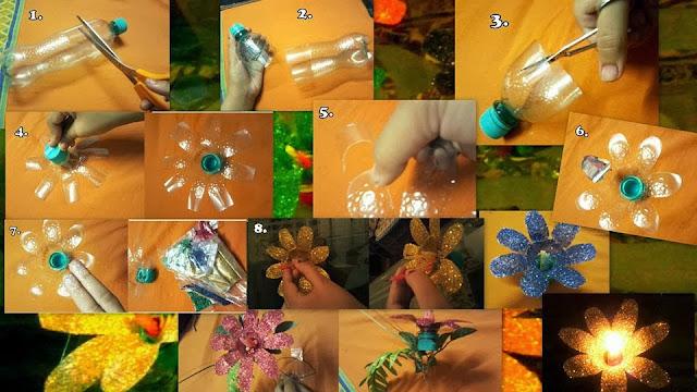 Guirnaldas de luces con flores hechas con botellas de plástico. Tutorial.