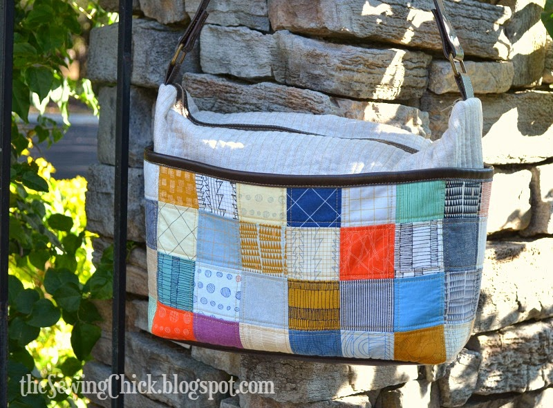 modern patchwork tote bag doe fabric the sewing chick