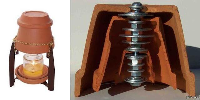 обогреватель +из керамических горшков +и свечи