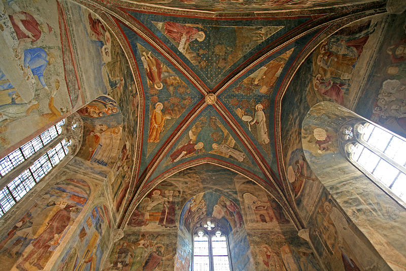 Frescoes inside Saint John's Chapel. Painted by Matteo Giovannetti in 1347-1348. This photo only: WikiMedia.org via JM Rosier.