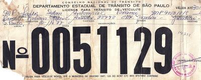 Licença provisória para o MP Lafer transitar entre São Paulo e Jundiaí, sem emplacamento.