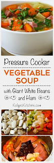 Pressure Cooker Vegetable Soup with Giant White Beans, Ham, and Bay Leaves from KalynsKitchen.com