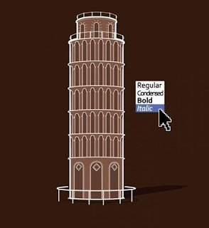 leaning tower of pisa. letter font italic