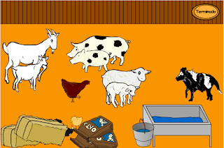 Juego animales y sus crías, en la granja