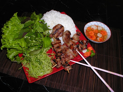 Bun Cha (vermicelli and grilled chopped meat) in Ha Noi