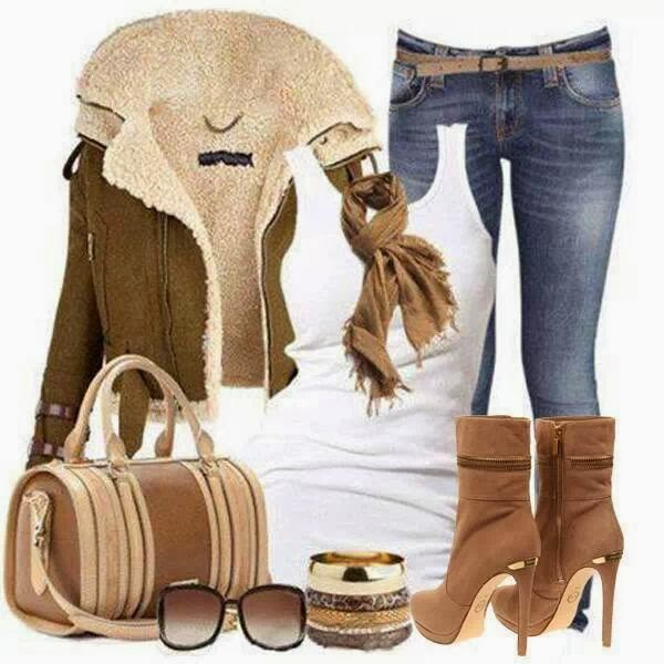 Stylish Dark Green Coat with White Singlet, Fashionable Jeans, Accessories, Brown Heeled Modern Boots and Bag