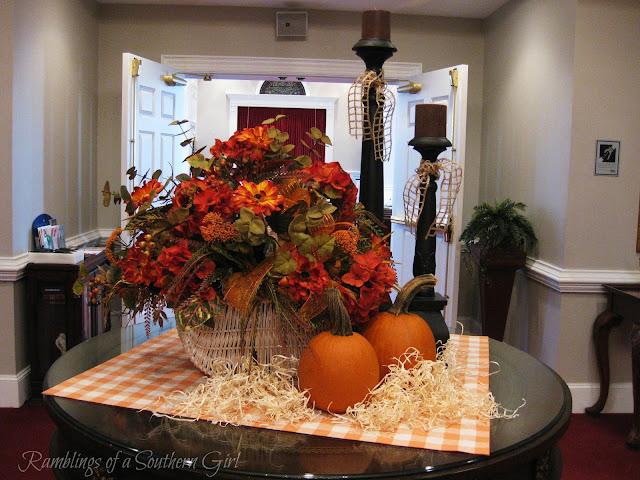 Burlap Flower Girl Basket Hobby Lobby : Ramblings of a southern girl simple fall tabletop vignette