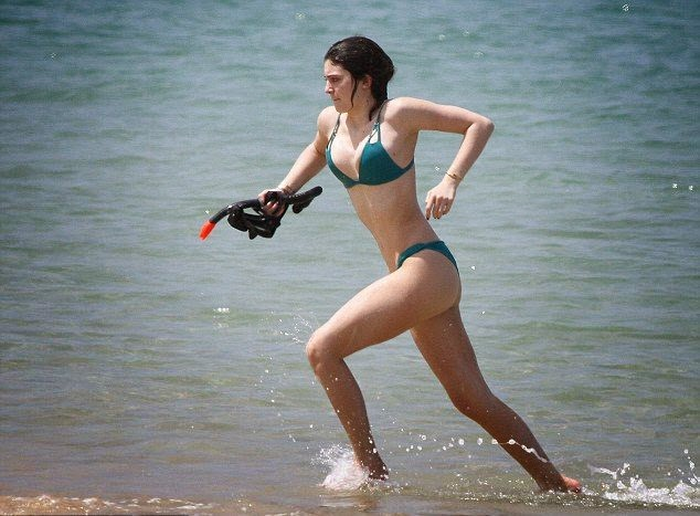 Kylie Jenner displays a Green Bikini as she plays a snorkeling in Thailand