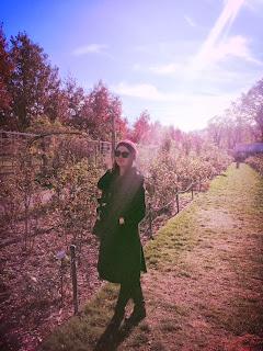 Brooklyn Botanic Garden, Botanic Garden New York City NYC, garden in New York, where to go in NYC, Olivia Inkster, black fur pea coat, wearing all black, free activities in NYC, most beautiful places in New York City, what to see and do in NYC New York