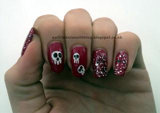 Lush Lacquer Salt n Peppa Skull Nail Art