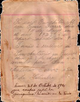 Fascimil de un folio del Libro de Apuntes de la Abuela Mamá Carmela.