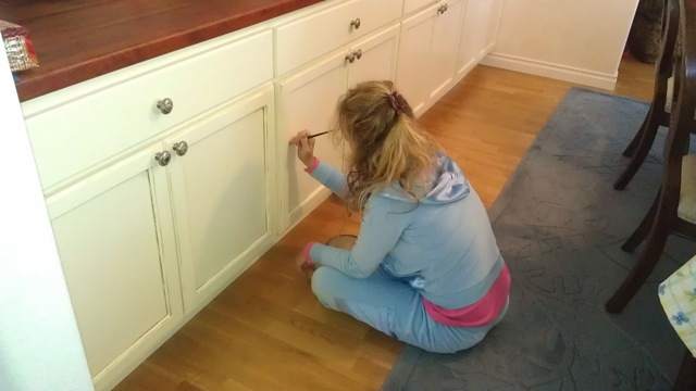 My Mom Then Painted All The Edges Of The Cabinets With A Mushroom Brown  Paint. She Rubbed The Paint In Random Areas With A Sponge To Make Them Look  More ...