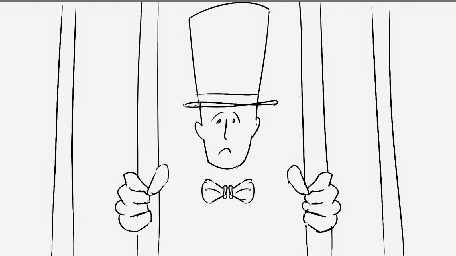man in top hat behind bars