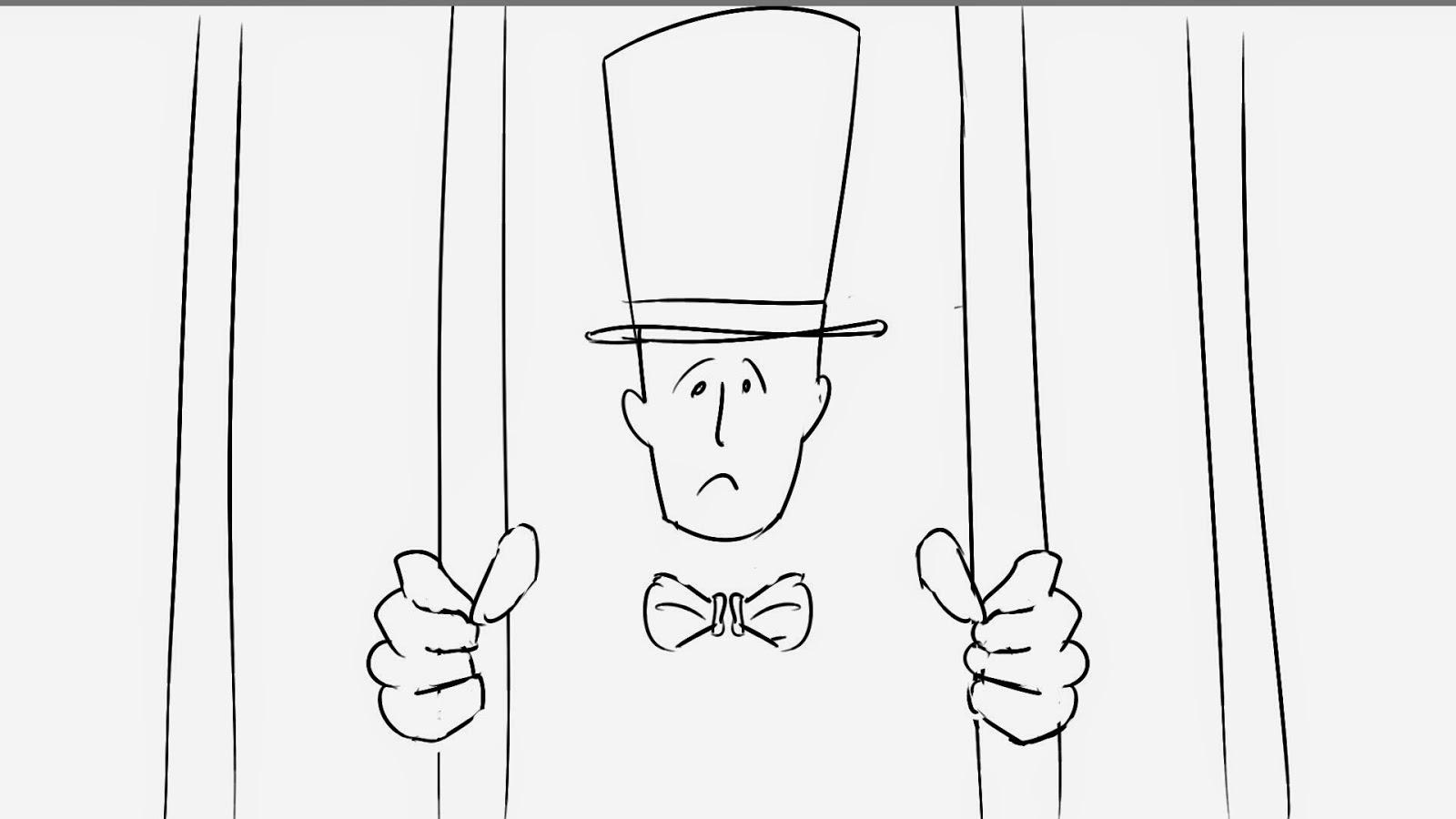 man in top hat behind bars