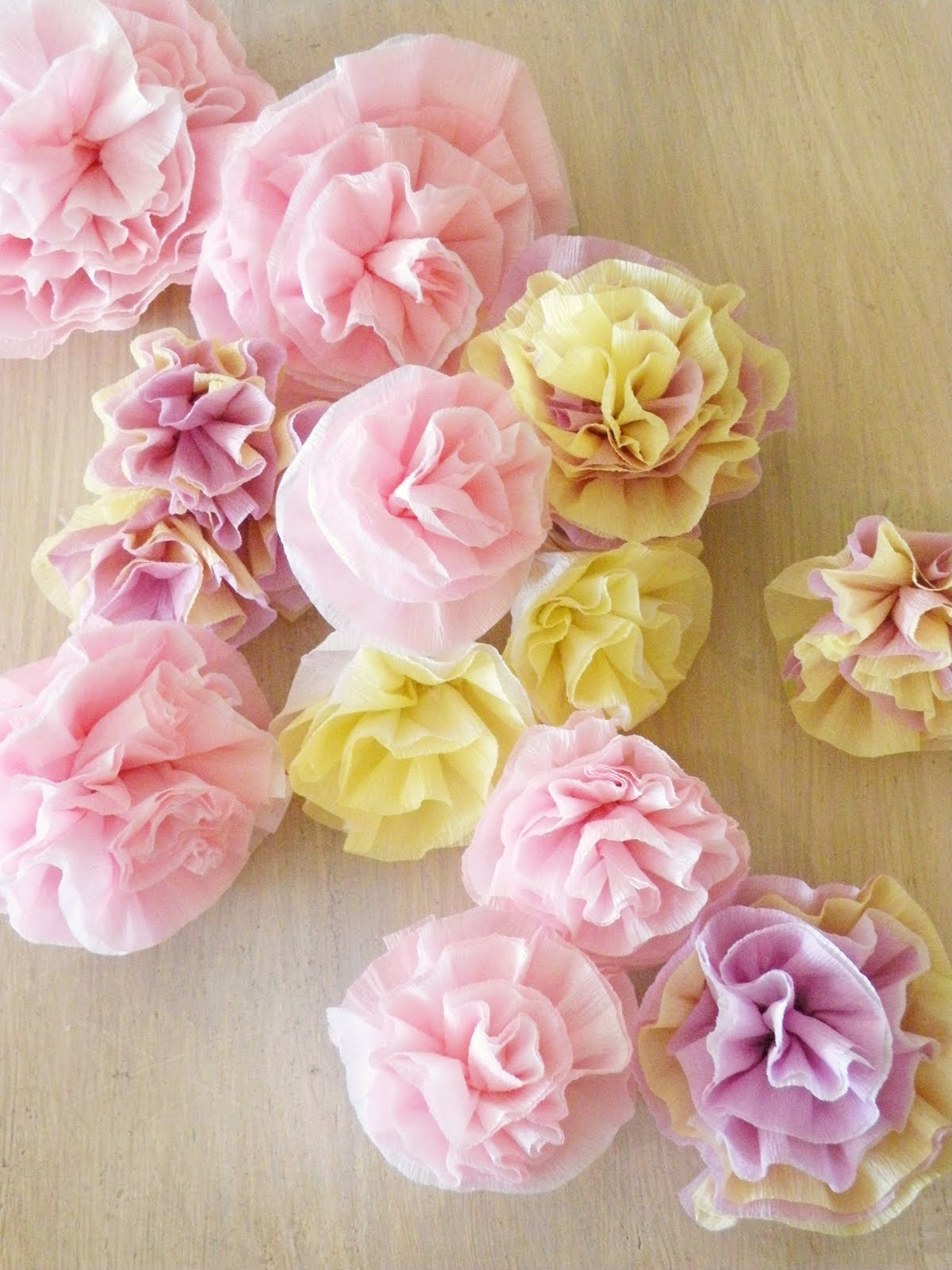 Icing designs lovely crepe paper flowers all you need is crepe paper and hot gluewe layered the crepe paper with two colors to add some depth the length of crepe paper you need just depends on mightylinksfo