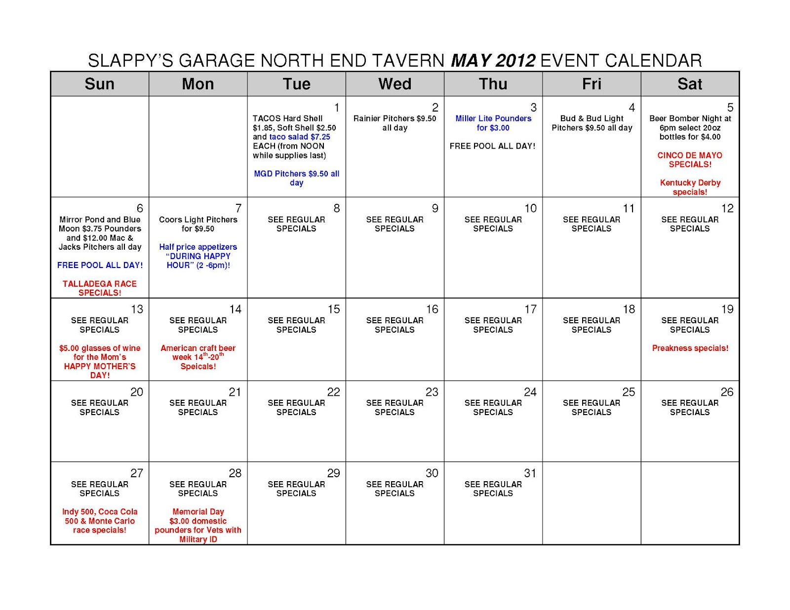 Calendar May Events : Slappy s garage north end tavern may calendar of events