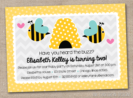 Ink Obsession Designs New Bumble Bee and Polka Dots Baby Shower – Bumble Bee Party Invitations