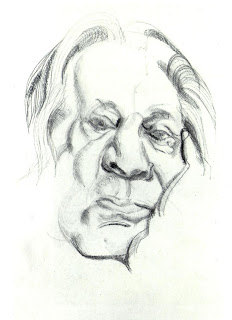 one of the famous painters, pencil on paper, portraits, The painters Father, Lucian Freud