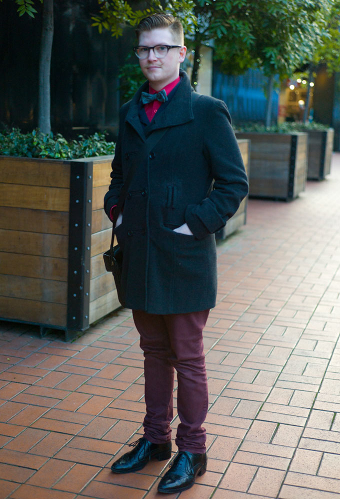 NZ street style, street style, street photography, New Zealand fashion, hot models, auckland street style, hot kiwi guys, Brookes Brothers, Derek Cardigan glasses, kiwi fashion
