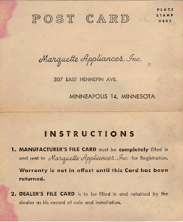 Marquette Appliances Warranty Card