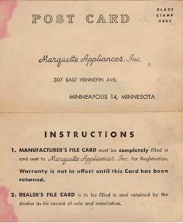 Marquette Appliances Warranty Card