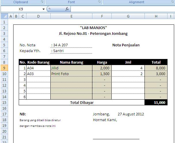 Tik Manjos Membuat Nota Penjualan Dengan Excel