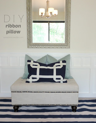 DIY no-sew Greek Key ribbon pillows made with glue! Such an easy & affordable way to add character to your decor!