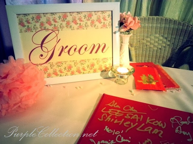 photo album viewing table decoration, wedding, event, decor, kuala lumpur, malaysia, pink theme, sweet, love, budget, package, welcome board, flower, floral, lantern, VIP chair, satin sashes, guestbook, reception table, bride and groom