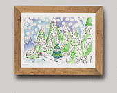 Kelvin Watercolour Christmas Winter Wonderland Original Art Painting Illustration